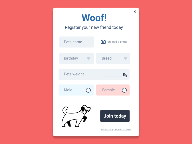 Woof! Pet signup form dogs forms pet form dog