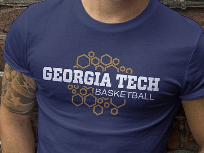 Georgia Tech Hive Shirt atlanta geometric shirt tech georgia gold jackets yellow hive hexagon sports basketball