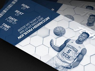 Georgia Tech Ticket Design sports honey comb hive print ticket atlanta basketball georgia tech