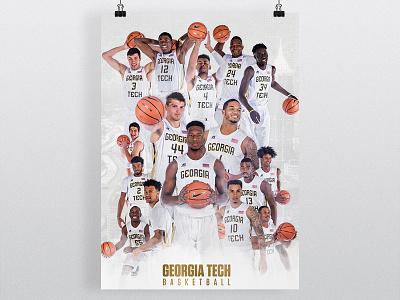 Georgia Tech Basketball Poster acc wreck ramblin jackets yellow atlanta basketball tech georgia