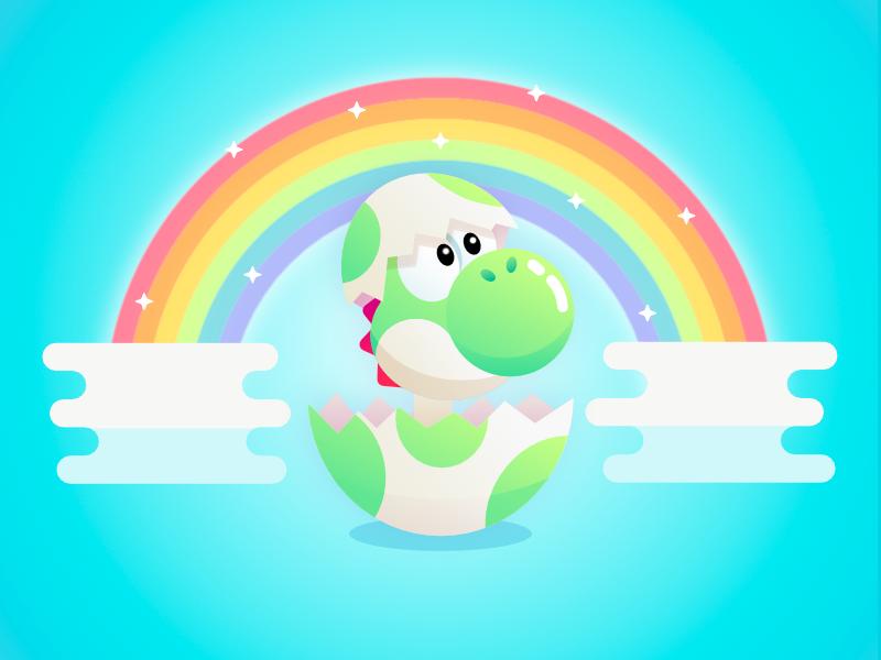 Baby Yoshi Dinosaur Illustration affinity design vector nintendo illustration video game mario cartoon