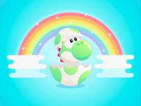 Baby Yoshi Dinosaur Illustration