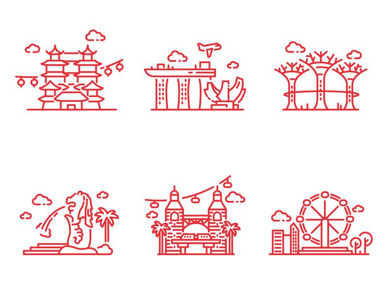The Line Art of Singapore flyer merlion garden chinatown logo signature symbol sentosa red icon design illustration singapore stroke line