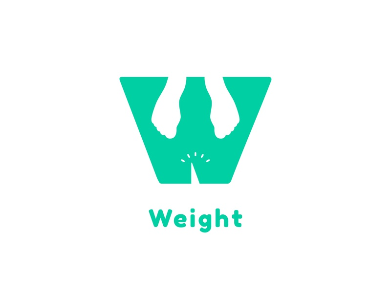 Weight space negative foot healthy green fit weight typography vector logo design illustration icon