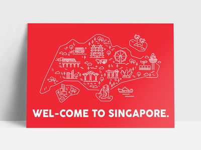 Singapore Map Postcard