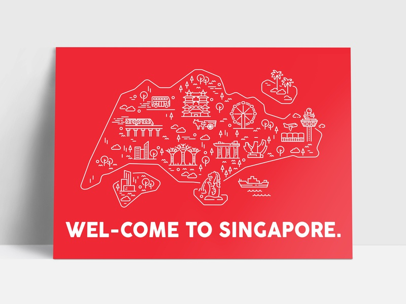 Singapore Map Postcard postcard poster welcome map singapore stroke red line design illustration icon