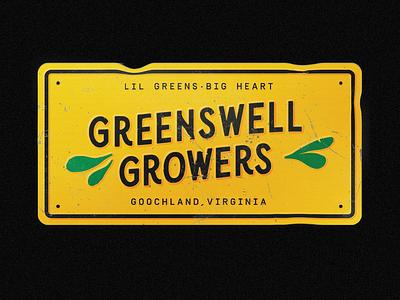 Greenswell License Plate john deere black yellow texture license plate lettering branding richmond design illustration typography