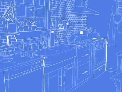 Kitchen Illo process pencil procreate sketch ipad blueprint white blue richmond illustration