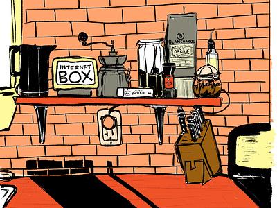 Home Kitchen kitchen richmond monochrome warm sketch illustration
