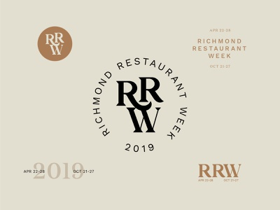 RRW Concept design branding logo restaurant branding work sans monogram 2019 neutral circle typography restaurant