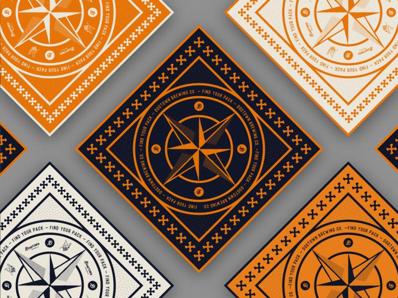 Find Your Pack Bandanas design illustration richmond manchester merch logo bones branding dogs print collateral compass bandanas