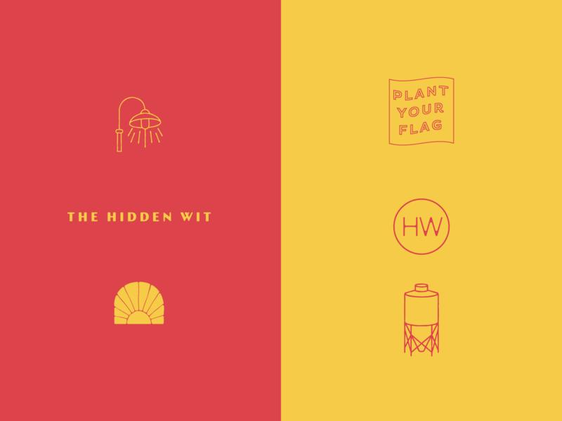 Hidden Wit monogram street brewery yellow typography illustration red richmond logo branding