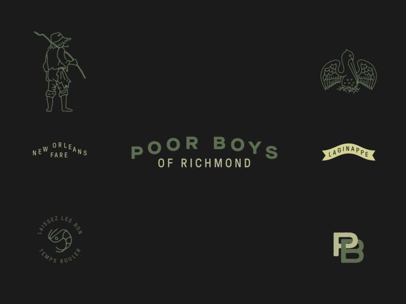 Poor Boys of RVA typography design branding boy pelican green monogram richmond new orleans icon illustration vector logo