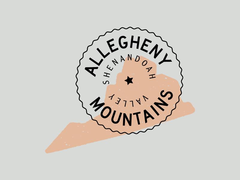Allegheny Badge typography icon badge mountains virginia vector