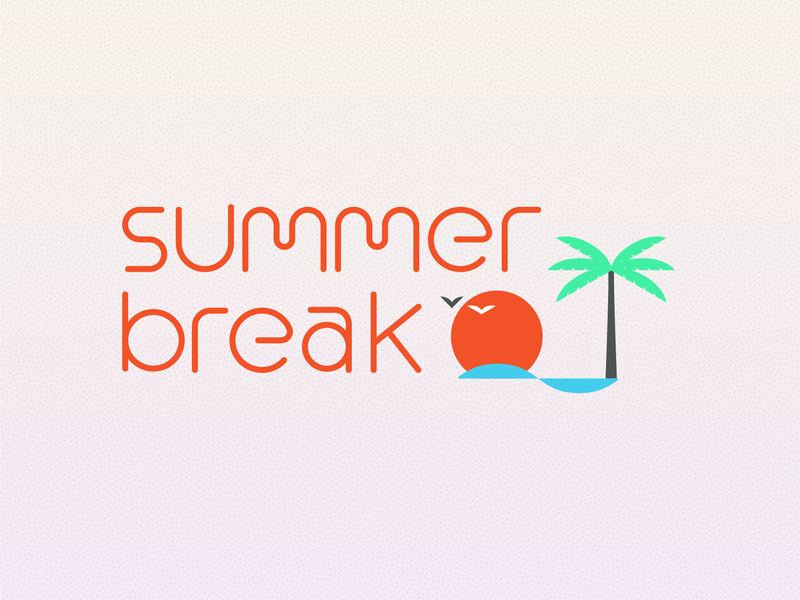 Campfire Summer Break 2019 gradient simple wave palm sunset break lettering illustration typography summer