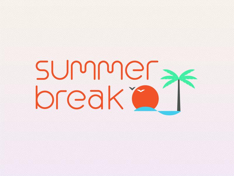 Campfire Summer Break 2019 gradient simple wave palm sunset break lettering illustration typography summer