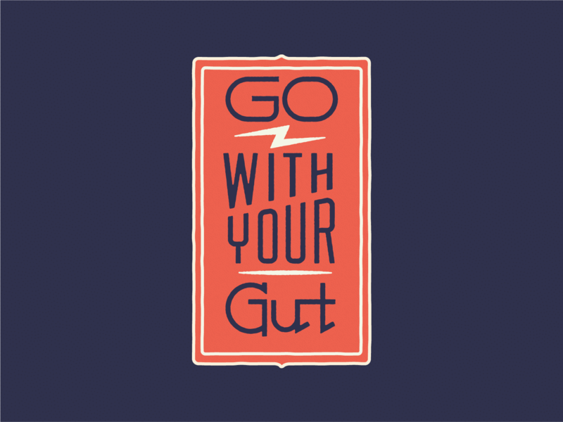 Go With Your Gut texture graphic badge blue white red gather richmond lettering illustration typography