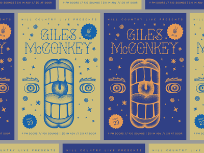 Giles McConkey Live design vector typography face mouth november rva dc layout tattoo illustration gig poster