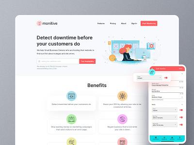 Landing page design - Website monitoring SaaS saas design design clean bootstrap web design responsive ui website landing page