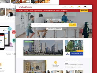 imobiliare.ro landing page mobile real estate clean bootstrap web design responsive ui ux website