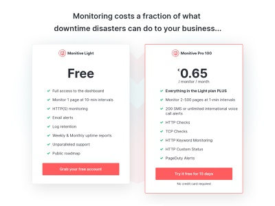 Monitive pricing table pricingtable website ui responsive bootstrap landing page