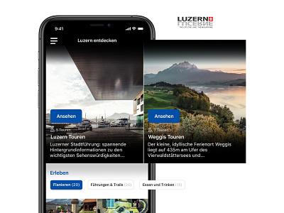 Lucerne city guide mobile app clean modern ux ui mobile app