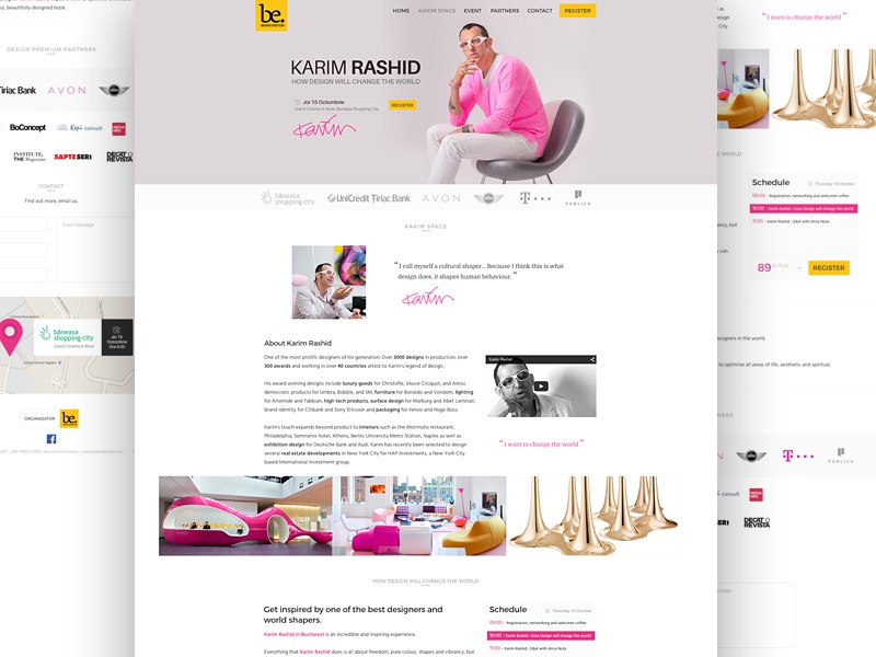 Karim Rashid Conference Website bootstrap web design one page wordpress theme ux ui website landing page