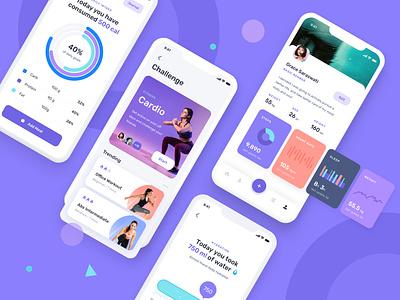 Health fitness mobile app fitness app mobile ui kit mobile ui mobile app ui ux workout health fitness