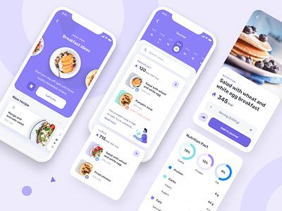 Nutrition health fitness mobile app mobile uiux ui recipe app food wellness fitness health recipe nutrition