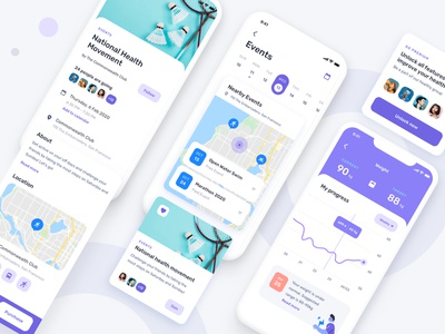 Event for health fitness mobile ui ux map event app ui kit mobile app ui ux fitness app health app