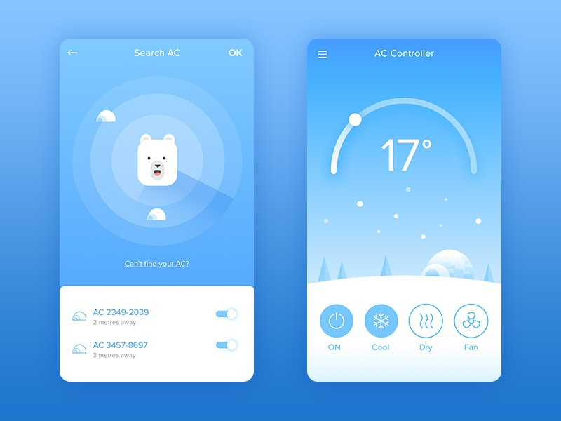 Air Conditioner Controller Mobile App app inspiration polar snow weather temperature illustration radar remote ux ui mobile