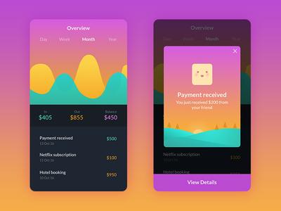 Mobile App Waley  simple user interface pop up gradient wallet money graph ux ui payment app mobile