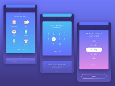 Delivery App number design delivery user interface inspiration icon form gradient illustration ux ui mobile