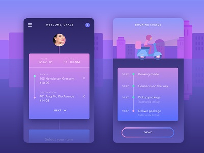 Mobile app Delivery taxi timeline ios clean illustration icon delivery inspiration app ux ui mobile