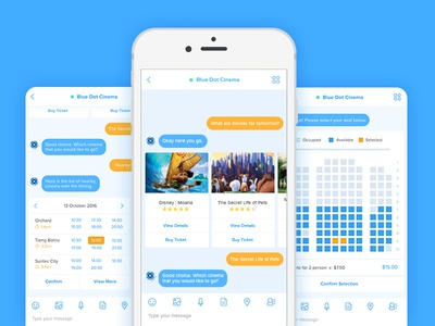 Buy Movie Ticket Mobile UI chatbots ios clean cinema card inspiration movie bots chat ux ui mobile