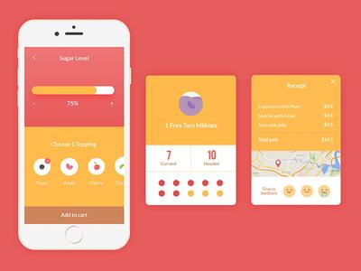 Bubble Tea Mobile App ecommerce map payment ios drink flat graph card receipt ux ui mobile