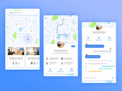 Find Doctor Mobile App clinic graph health chat bots location map doctor app mobile ux ui