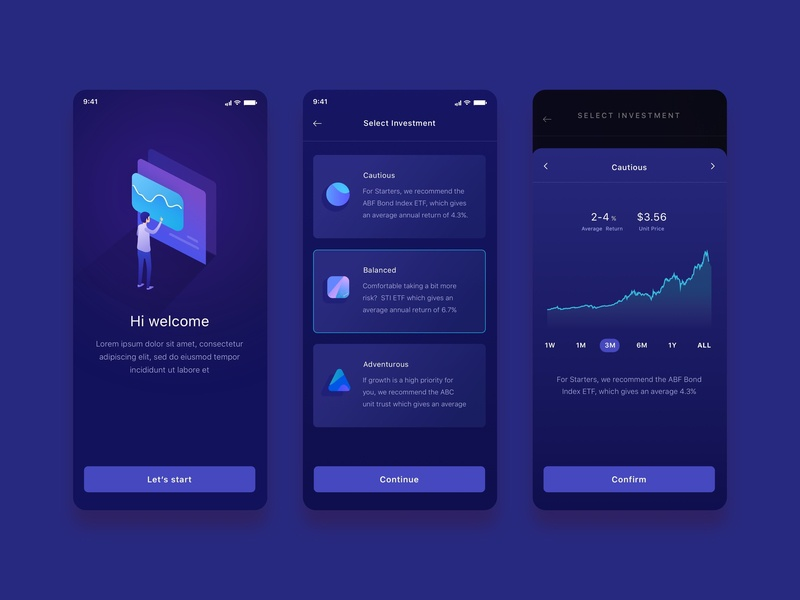 Mobile Ui Ux Finance bank onboarding investment finance app ux graph ios ui mobile