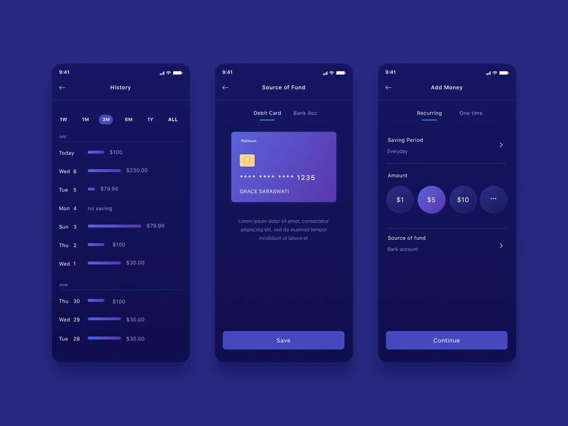 Mobile Ui Ux Finance Investment history transaction bank card money finance ui ux app mobile