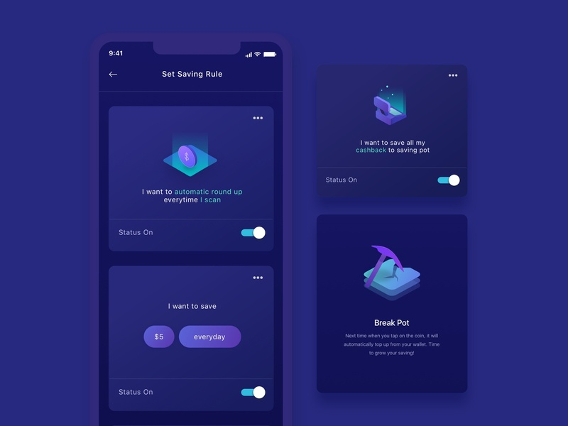 Mobile Ui Ux Finance Investment onboarding saving invest money finance bank card ios ux ui mobile
