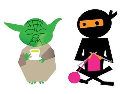 Yoda and Ninja yoda ninja cartoon illustration character knit