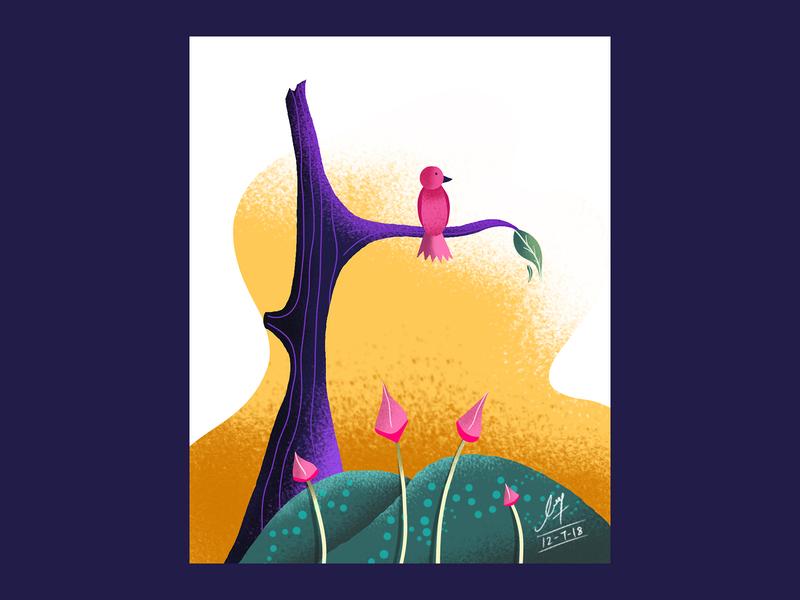 Lonely Bird 🐥 leaf flowers process graphic design ipadproart art tree bird drawing simple art details colors procreate print ipad handmade illustration