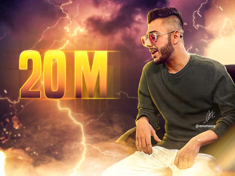 20M Artwork poster design graphic visual photoshop person photo manipulation magazine digital cover artist fanart graphic design youtube 2 crore poster carryminati