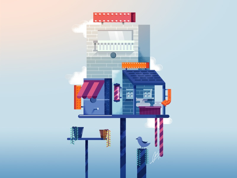 Bird House Illustration digital illustration drawing creative interior vector color design art illustrator photoshop texture product pencil gradient bird house illustration