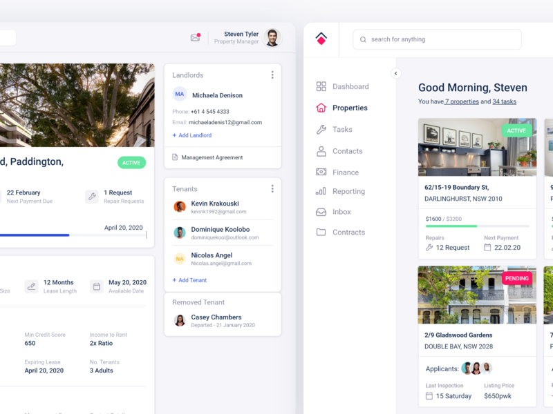Property Management Dashboard pt 3 management app home realestate house housing management property userinterface cards dash dashboard search minimal app web design clean interface ui ux