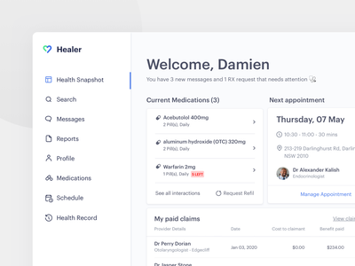 Patient Portal Medical Dashboard schedule booking healthcare doctor app doctor medical app medicine medical portal patient dash dashboard minimal app web design clean interface ui ux