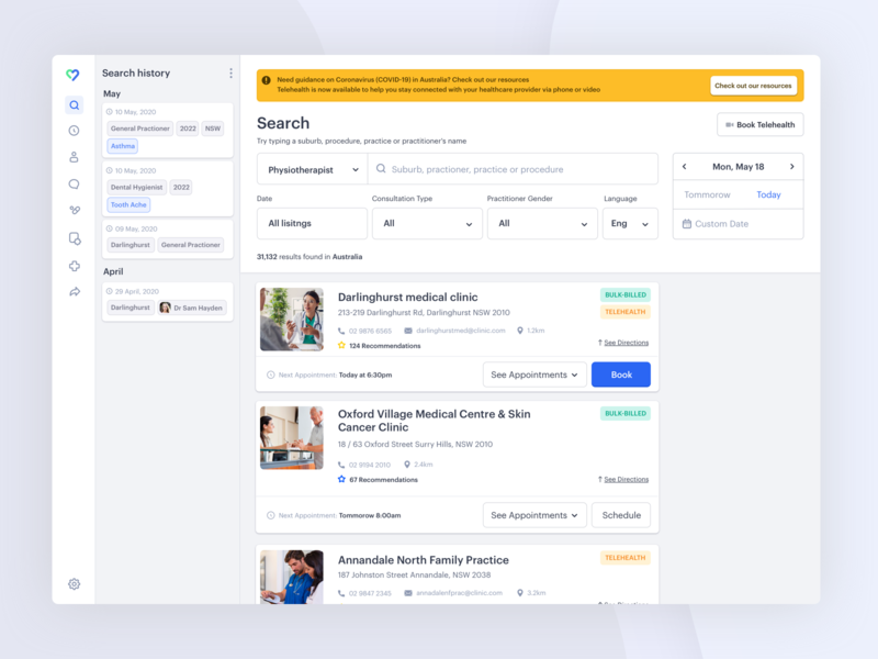 Medical Management Platform pt2. history schedule healthcare medicine medical doctor filter cardboard cards dash search dashboard app minimal web design clean interface ui ux