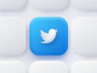 Twitter App Icon app icon blue branding ui web design clean icon figma 3d cards minimal simple brand logo app skeumorphism skeumorphic neumorphic neumorphism