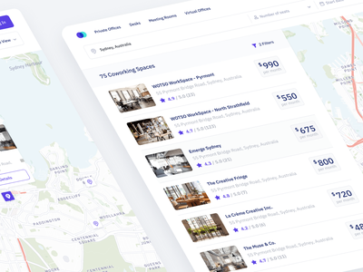 Coworking space search app saas flat productdesign webapp webapp design work search results cards ui business dash dashboard search minimal app web design clean interface ux ui
