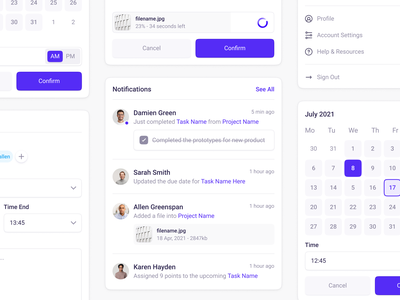 Light UI Elements search checkbox tabs loader toggle button input date picker dropdown notifications ios mobile minimal app web design clean interface ux ui